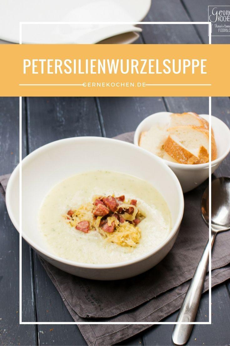 Ich bin kein Suppenkaspar, aber diese Suppe würde ich sofort nehmen. Petersilienwurzelsuppe mit karamellisiertem Sauerkraut und Rindswürstchen. #sauerkraut #petersilienwurzel #karamell #karamellisiert #würstchen