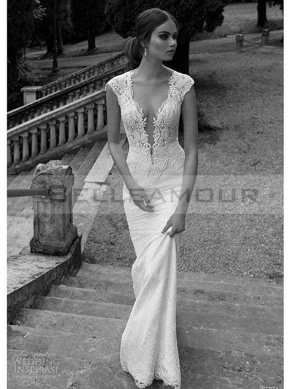 Robe de mariée Sexy Dentelle Longue Blanche Sirène Mancheron Col V                                                                                                                                                                                 Plus