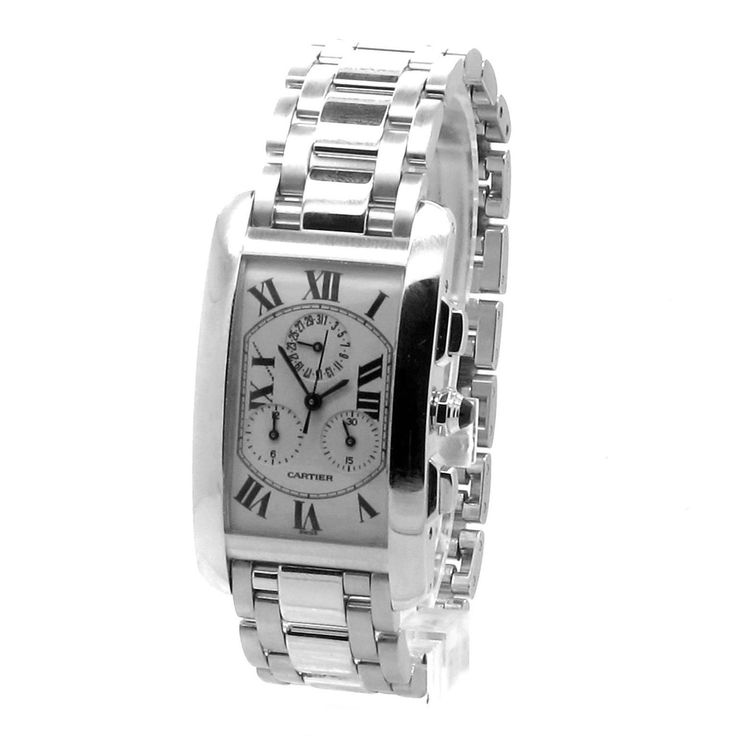 Cartier White Gold Tank Americaine Chronoflex Wristwatch Ref W26033L1 | From a unique collection of vintage wrist watches at https://www.1stdibs.com/jewelry/watches/wrist-watches/