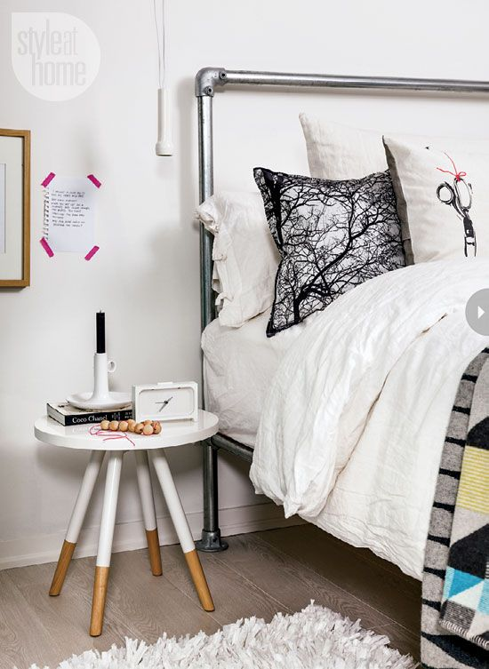 Style at Home's Tara Ballantyne combines functionality and great design details in her downtown Toronto condo. Love the bedroom with it's scaffolding-like metal bed!
