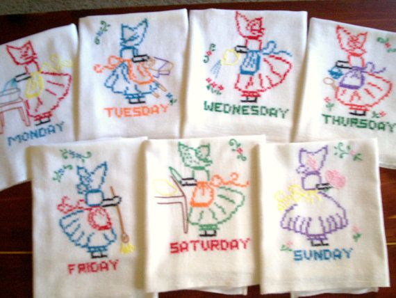 Kitchen Towels Days of the Week Set of 7 Hand Embroidered Flour Sack Towels