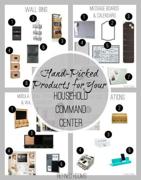 Hand-picked organizing products for creating a beautiful and functional household command center @ http://refinedroomsllc.com