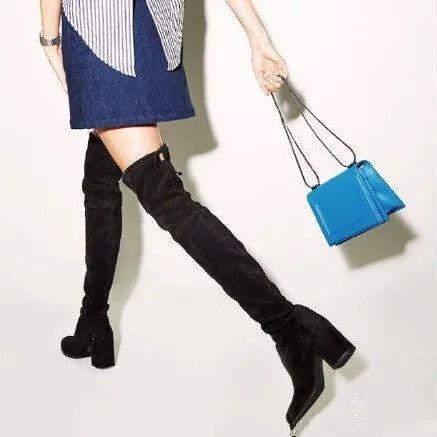 ブラックグレー女性マイクロスエード腿の高いブーツブロック厚いヒールストレッチオーバーは膝のブーツワインヌード泥ベージュ