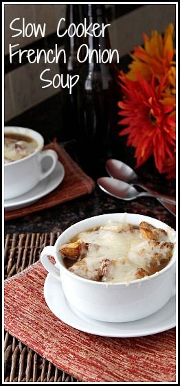 Easy homemade Slow Cooker French Onion Soup Recipe - throw the ingredients in your crock pot and forget about it! Healthy, low calorie, low fat options for lunch or dinner. SnappyGourmet.com