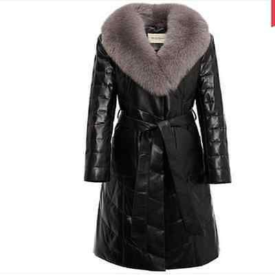 Real sheep leather coats female fox collars teamed with velvet fur coat
