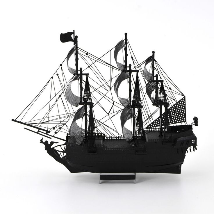 Queen Anne's Revenge Pirate Sail Ship Night Black 3D DIY Metal Earth Model