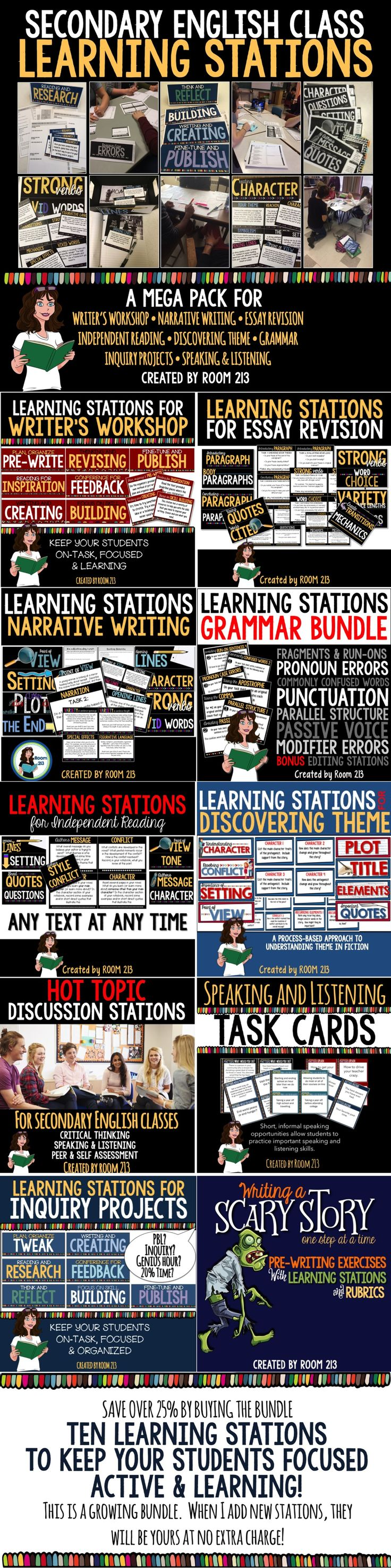 SAVE BIG!  Ten different learning stations for secondary English classes.