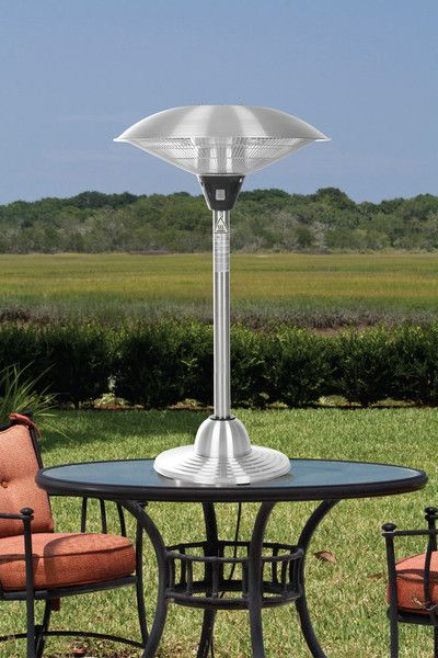 Beautiful Fire Sense Stainless Steel Table Top Round Halogen Patio Heater (#60403)