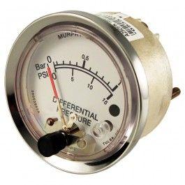 Presostato diferencial Murphy con lectura de presión de 0-1 o 0-2 Bar. Se usa en instalaciones hidráulicas como medidor de presión diferencial.