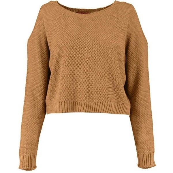 Sofie Cut Out Shoulder Crop Jumper ($2.76) ❤ liked on Polyvore featuring tops, sweaters, jumper top, cropped sweater, cold shoulder sweater, open shoulder top and cut-out shoulder tops