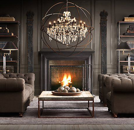A DESIGN DOCK: STYLE AT HOME: INDUSTRIAL FIREPLACE SCREEN FROM RESTORATION HARDWARE