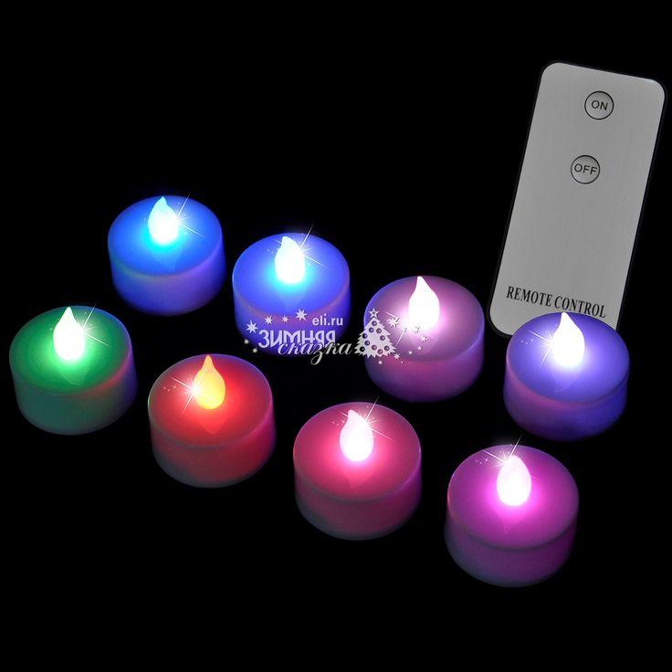 Набор разноцветных светодиодных чайных свечей с пультом, 8 шт, RGB, батарейка, Edelman | Интернет магазин «Зимняя Сказка»