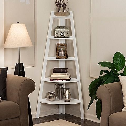 This contemporary Wood 5-Tiered Corner Ladder Bookcase features a unique space-saving design that easily fits in the corners of most rooms. Its ladder style with descending shelves is ideal for displaying photo frames, books, and other collectibles.