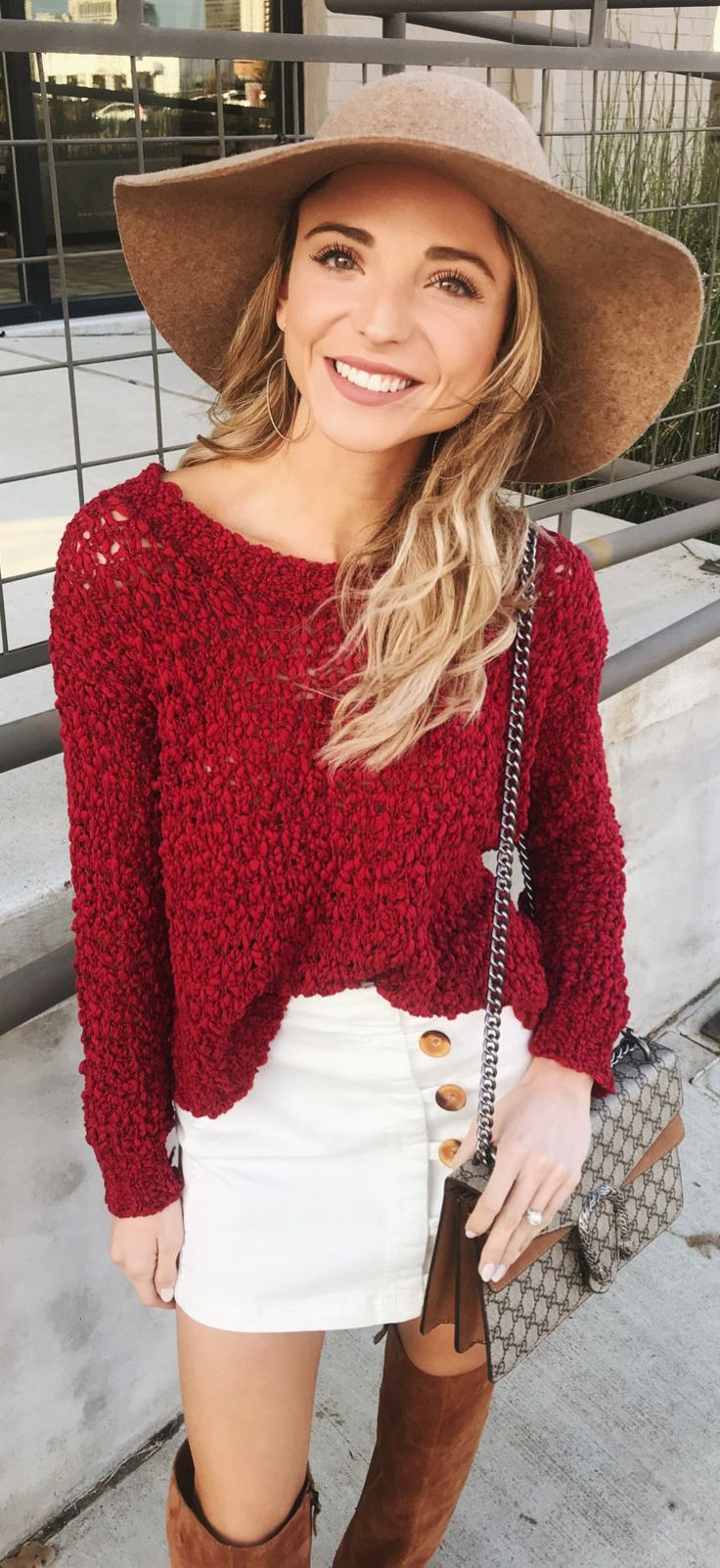 #winter #outfits red knit boat-neck long-sleeved shirt and white denim skirt with gray leather sling bag