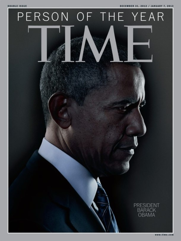 "TIME Magazine - 2012 Person of the Year cover photo. 2012 TIME Person of the Year is President Barack Obama - ""He's basically the beneficiary and the author of a kind of a New America, a new demographic, a new cultural America that he is now the symbol of,"" TIME magazine said. Obama became the first Democratic president since Franklin Delano Roosevelt to win two consecutive re-elections with at least 50 percent of the vote, despite the highest unemployment rate in seven decades."