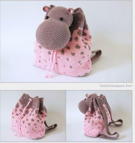 Детский рюкзак - бегемот #вяжем_детям #описание #вязание_крючком #рюкзак