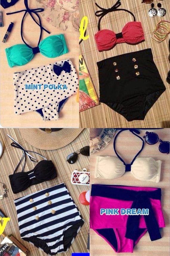 High Waisted Bikinis by kkoutureboutique on Etsy, $35.00
