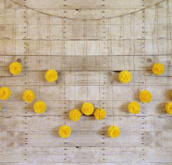 DIY Dandelion Yellow Tissue Paper Flower Wedding Garland Kit, Photography Prop, Party Decoration, Pom Poms Garland,