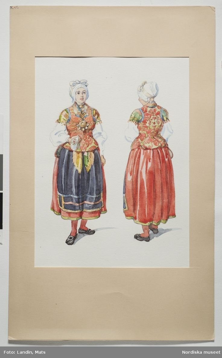Costume for married women, festive  occasions,Västbo, Småland
