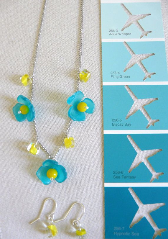 Buttercup Necklace and Earrings: Silver chain by PlaneNSimple