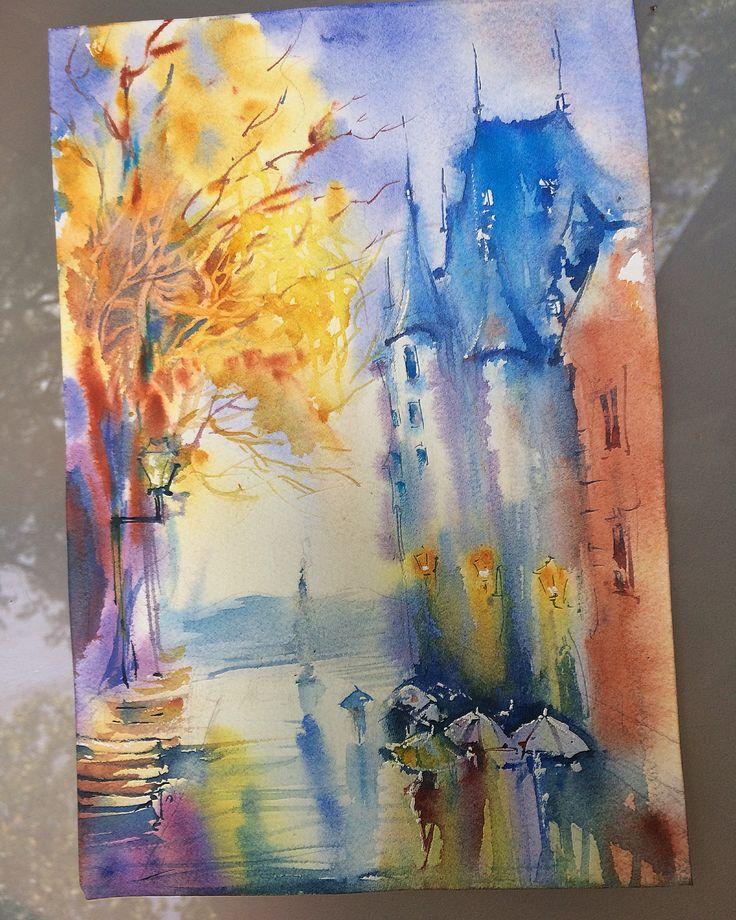 Hanna Zahorna watercolour painting of Quebec City 2017 #watercolorpainting #quebec #cityscape #watercolor #aquarelle #акварель #watercolorart #hannazahorna #artukraine #canada