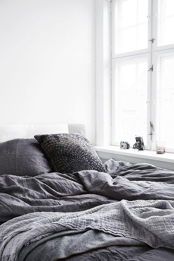 Vårnyheter 2014 från danska By Nord grey bedding / white room / natural light / windowsill