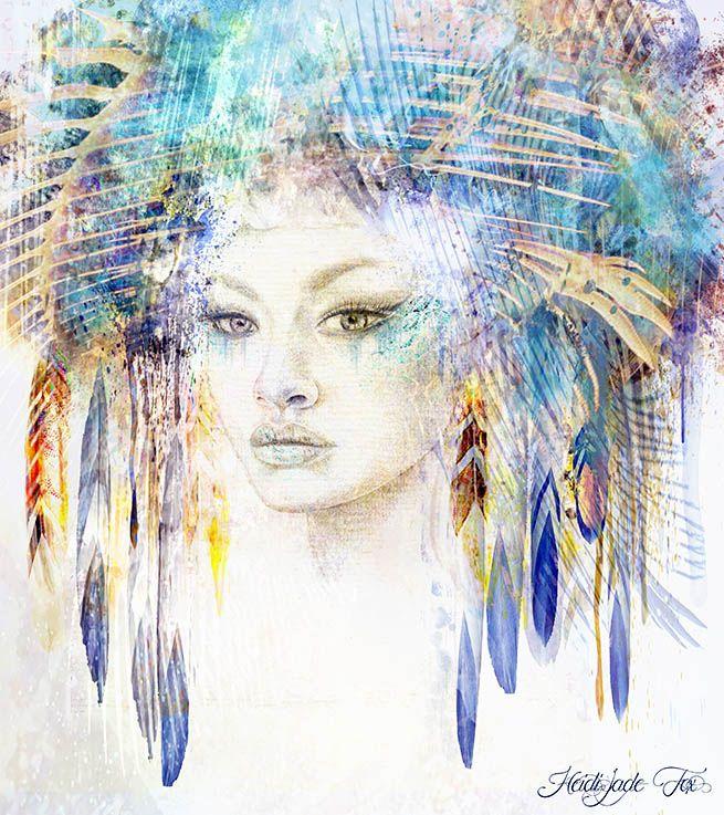 'Gigi Goddess' by Heidi Jade Fox-pencil drawing and digital painting