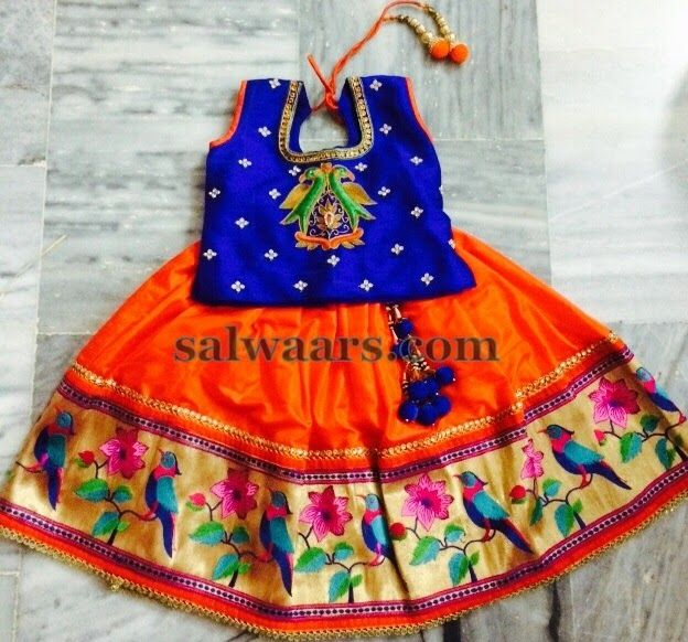 Orange Lehenga Pythani Parrot Border | Indian Dresses