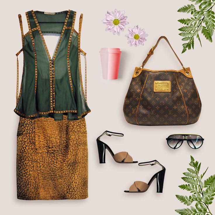 A bolsa é a #LV Galiera, que [vai bem] com o colete #RaiaDeGoye + saia #Couro + sandálias #GiuseppeZanotti + óculos #Carrera = #ComadresBrecho ... #comadres #brecho #brechoonline #shoponline #flatlay