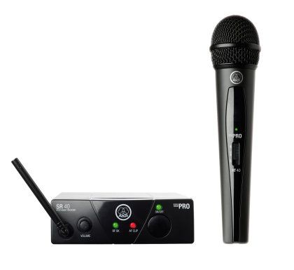 AKG WMS40 Mini Vocal Handheld Wireless Microphone Set - Reduce battery consumption with this wireless microphone set from AKG. The transmitter is capable of running for 30 hours off a single AA battery.