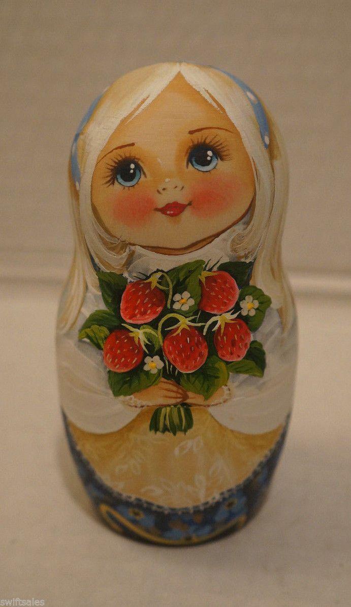 Big Russian Matryoshka - Wooden Nesting Dolls - 7 Pieces Unique Coloring #3 | eBay