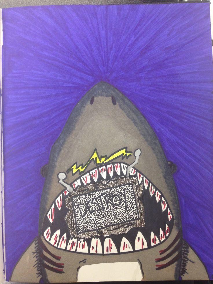 Cool shark cartoon sketch.   Designed by Nic Mancuso