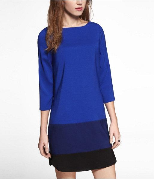 Express Womens Color Block Shift Dress