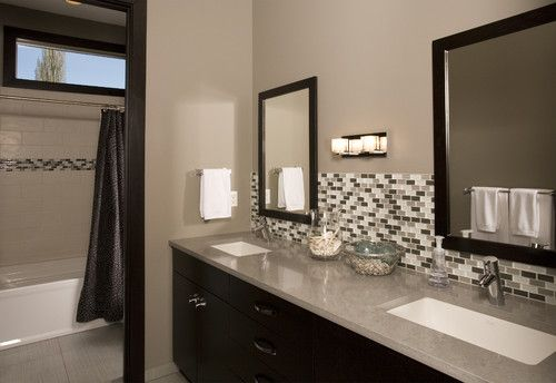 Contemporary contrast contemporary bathroom seattle for Backsplash ideas for bathroom sinks