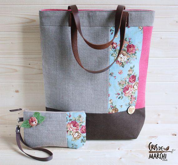 Maxi borsa originale, robusta e capiente + pochette abbinata