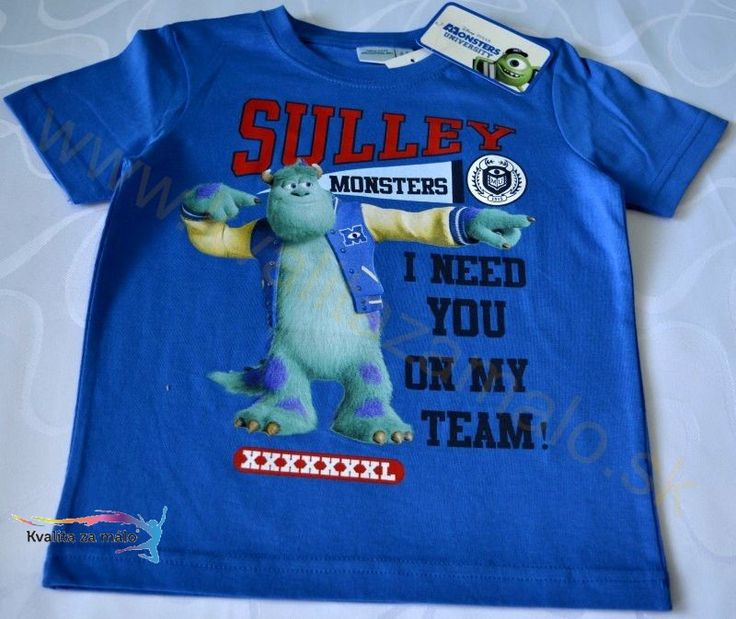Detské tričko Monsters University modré Kvalitná potlač Monsters University na tričku s krátkym rukávom, príjemný stálofarebný materiál, výrobok s originálnou licenciou. Z rozprávky Príšerky s.r.o materiál: 100% bavlna