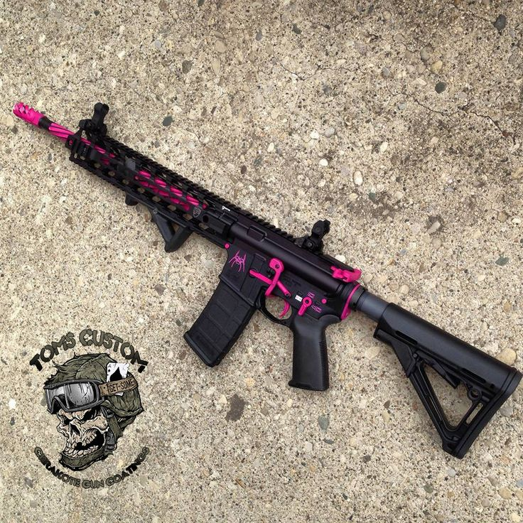 """My next gun will be an AR-15. In love with this custom AR!! I am not a fan of all pink guns, they look so silly to me. But this is a nice combo of pink n black <3 tuck is getting me one for my bday I'll hafta reference this ;)"""
