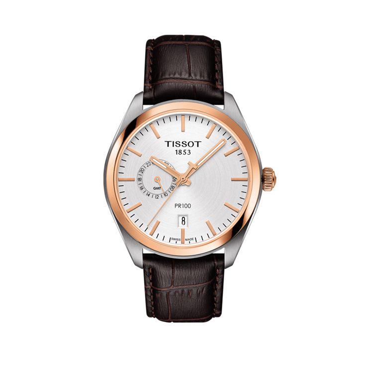 T101.452.26.031.00 Ανδρικό quartz ρολόι TISSOT μοντέλο PR 100 με ημερομηνία, GMT, ασημί καντράν και καφέ κροκό λουρί | Ρολόγια TISSOT στο Χαλάνδρι ΤΣΑΛΔΑΡΗΣ #tissot #pr100 #gmt #ημερομηνια #λουρι