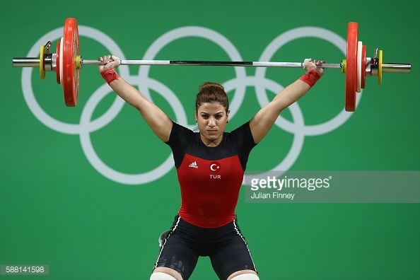 Duygu Aynaci of Turkey lifts during the Women's 69kg Group B weightlifting contest on Day 5 of the Rio 2016 Olympic Games at Riocentro Pavilion 2 on...