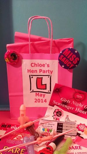 Personalised and filled hen party gift bags