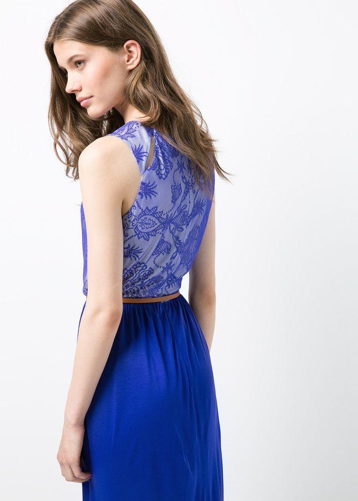 robe longue bleu roi mango la mode des robes de france. Black Bedroom Furniture Sets. Home Design Ideas