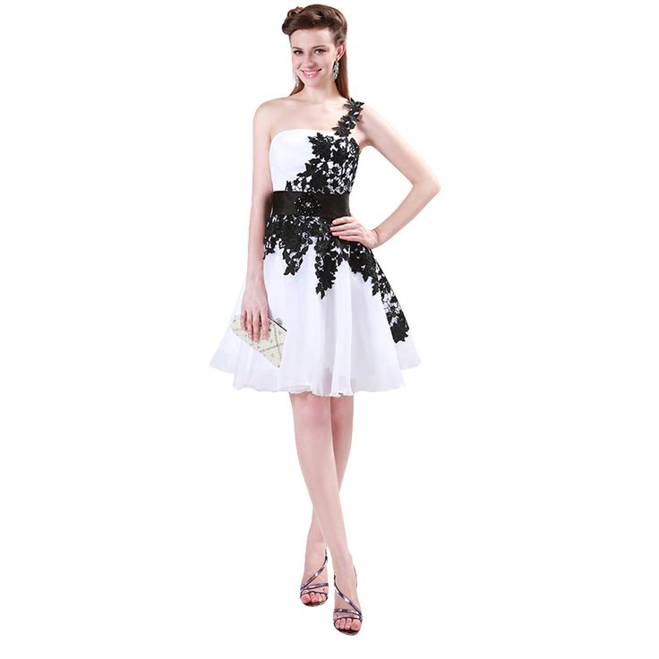 Robe de Cocktail One Shoulder Appliques Cocktail dress 2016 Grace Karin Short White formal dresses Vestidos de Coctel cl4288-in Prom Dresses from Weddings & Events on Aliexpress.com | Alibaba Group