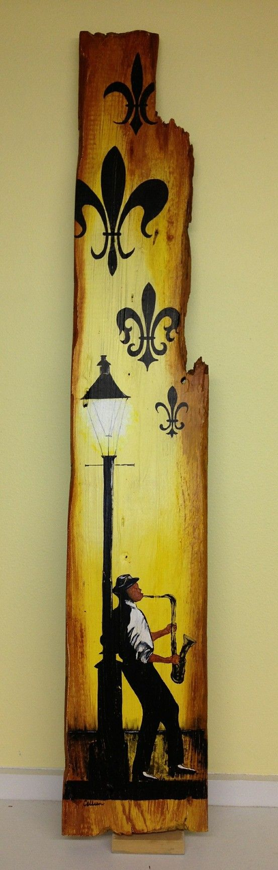 New Orleans Jazz Guy...painted on cypress from a house that was built in 1889