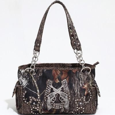 Mossy Oak Horse Shoe and Crossing Pistols Croco Handbag – All Things Country