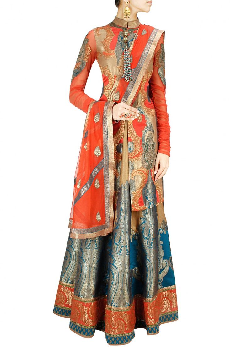 FESTIVE FASHION : Persian orange, cobalt blue and gold brocade applique lehenga by Ashima Leena. Shop designer now at www.perniaspopups... #designer #indian #stylish #shopnow #perniaspopupshop #happyshopping