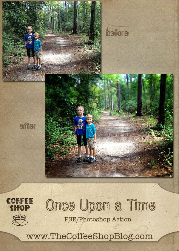 The CoffeeShop Blog: CoffeeShop Once Upon a Time Photoshop/PSE Action! - free action download and tutorial