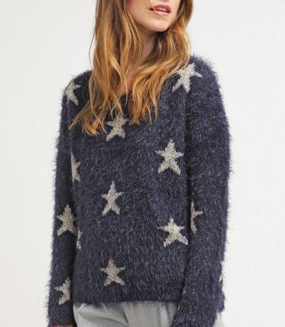 ONLY ONLNEW Sweter świąteczny w gwiazdki night sky