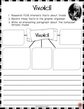 VIVALDI Research Activity Sheets  Students work on research, technology, reading, comprehension and writing skills as they research the life and music of composer Antonio Vivaldi.     ♫ CLICK through to read more or repin for later!!  ♫