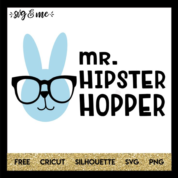 Cute hipster bunny free svg that is perfect to make a little boy's Easter shirt or baby onesie. Compatible with Cricut, Silhouette and other cutting machines.