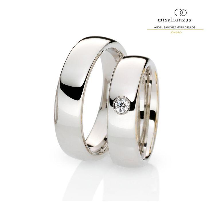 #Alianzas de oro blanco sencillas #boda #anillos #novia